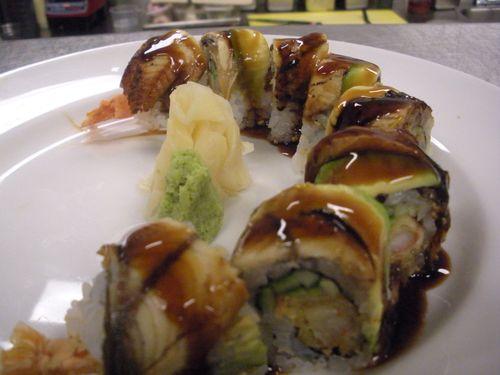Shrimp tempura-unagi maki